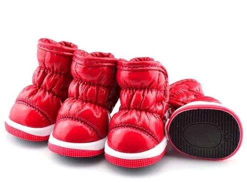 (veľkosť L  5 4 cm) Zimné zateplené červené čižmy Lovely pre psov f3d75e5be49