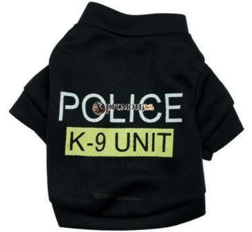 (veľkosť L  44 36 cm) Tričko pre psov Police čierna 880d621cc54
