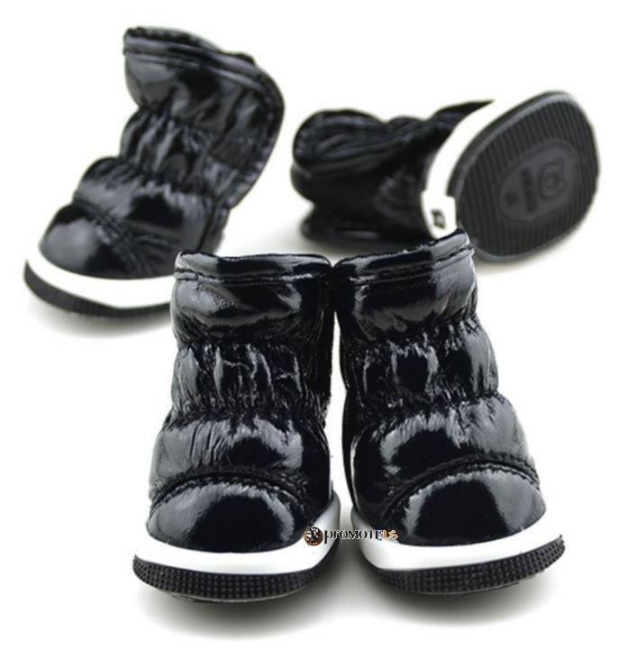 (veľkosť L  5 4 cm) Zimné zateplené čierne čižmy Lovely pre psov fc36455ef11
